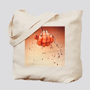 Mercury flowing through fingertips Tote Bag