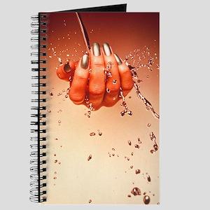 Mercury flowing through fingertips Journal