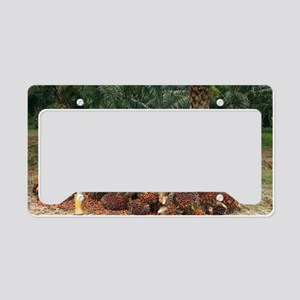 Mature man posing by oil palm License Plate Holder