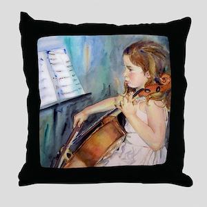 Little Girl Cellist Throw Pillow