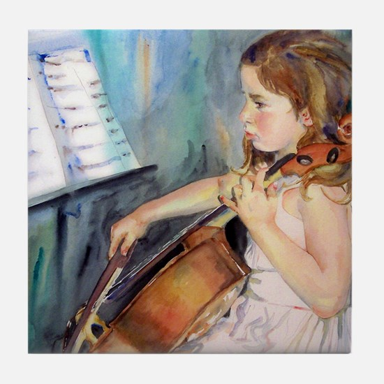Little Girl Cellist Tile Coaster