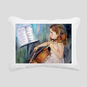 Little Girl Cellist Rectangular Canvas Pillow