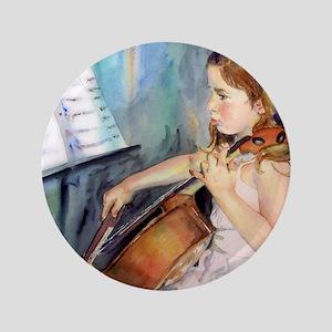 """Little Girl Cellist 3.5"""" Button"""