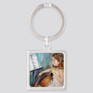 Little Girl Cellist Square Keychain