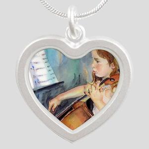 Little Girl Cellist Silver Heart Necklace
