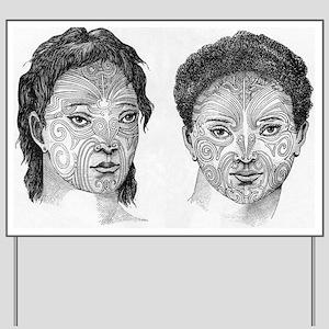 Maori head tattoos, artwork Yard Sign