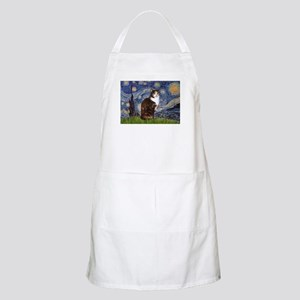 Starry Night & Calico Cat (#1 BBQ Apron