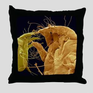 Mange mites, SEM Throw Pillow