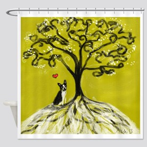 Boston Terrier love Tree of life heart Shower Curt