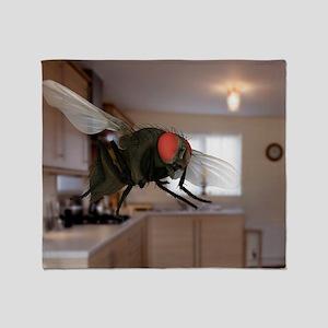 Male lesser housefly in flight, SEM Throw Blanket
