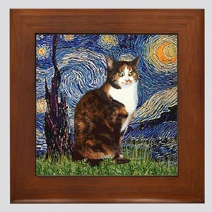 Starry Night & Calico Cat (#1 Framed Tile