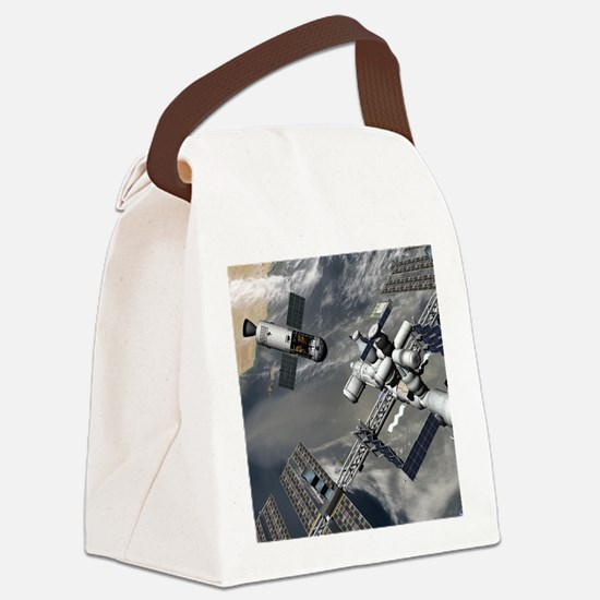 Lunar tug and the ISS, artwork Canvas Lunch Bag