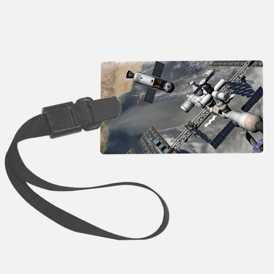 Lunar tug and the ISS, artwork Luggage Tag