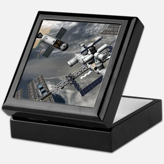 Lunar tug and the ISS, artwork Keepsake Box