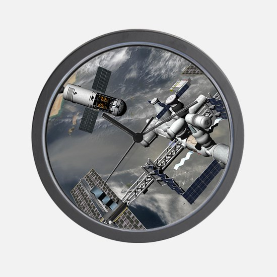 Lunar tug and the ISS, artwork Wall Clock