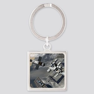 Lunar tug and the ISS, artwork Square Keychain