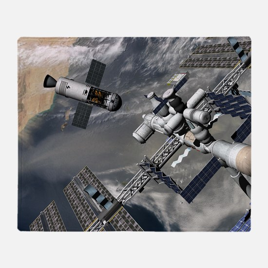Lunar tug and the ISS, artwork Throw Blanket