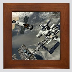 Lunar tug and the ISS, artwork Framed Tile