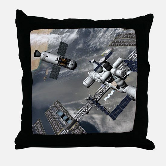 Lunar tug and the ISS, artwork Throw Pillow