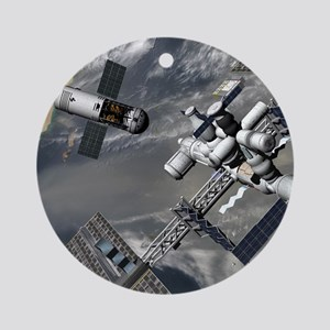 Lunar tug and the ISS, artwork Round Ornament