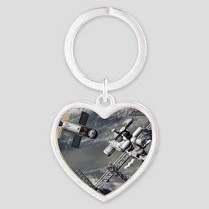 Lunar tug and the ISS, artwork Heart Keychain