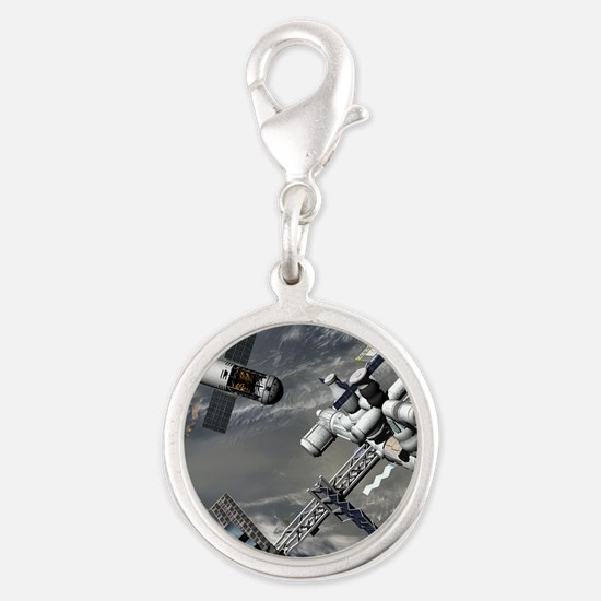 Lunar tug and the ISS, artwork Silver Round Charm