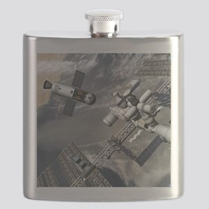 Lunar tug and the ISS, artwork Flask