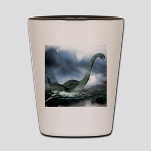 Loch Ness monster, artwork Shot Glass