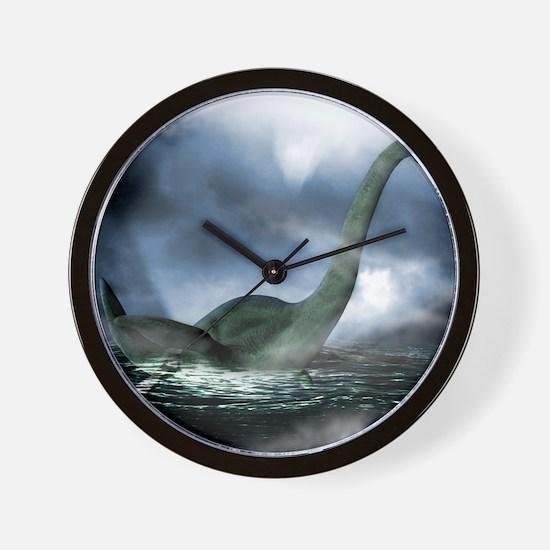Loch Ness monster, artwork Wall Clock