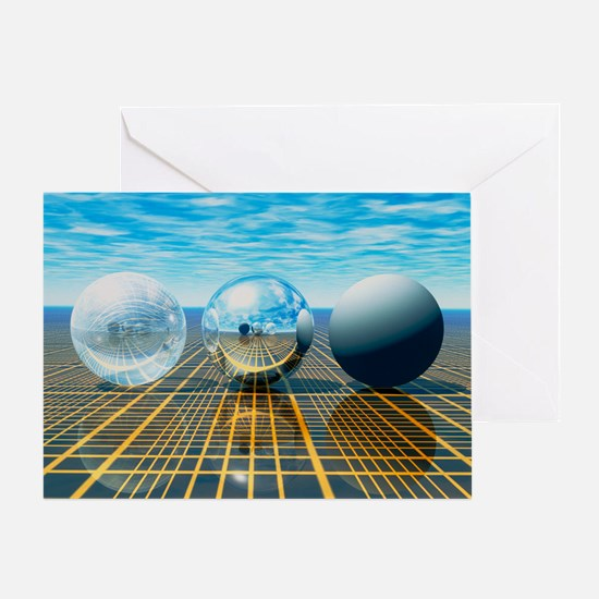 Light reflection from 3 spheres Greeting Card