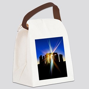 Light flares at Stonehenge, artwo Canvas Lunch Bag
