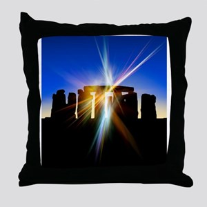 Light flares at Stonehenge, artwork Throw Pillow