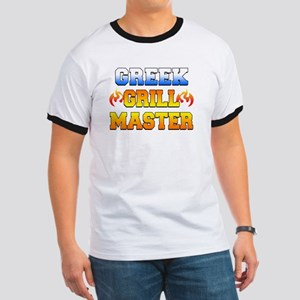 Greek Grill Master Dark Apron Ringer T