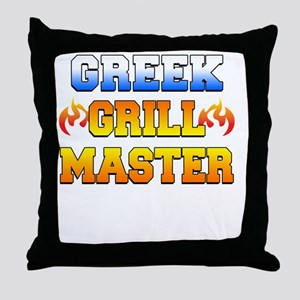 Greek Grill Master Dark Apron Throw Pillow