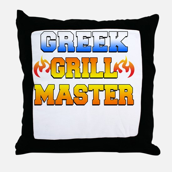 Greek Grill Master Dark Apron Throw Pillow