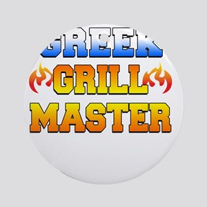 Greek Grill Master Dark Apron Round Ornament