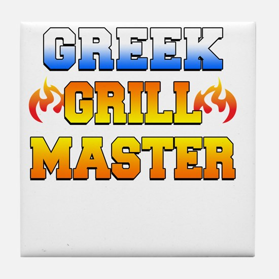 Greek Grill Master Dark Apron Tile Coaster
