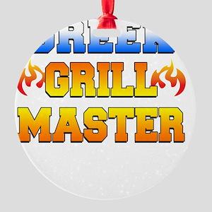 Greek Grill Master Dark Apron Round Ornament