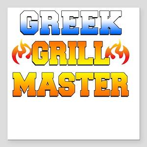 "Greek Grill Master Dark  Square Car Magnet 3"" x 3"""