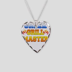 Greek Grill Master Dark Apron Necklace Heart Charm