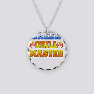 Greek Grill Master Dark Apro Necklace Circle Charm