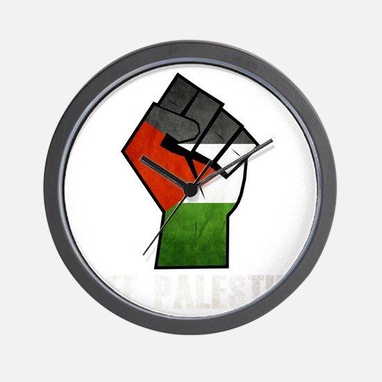 Free Palestine White Wall Clock