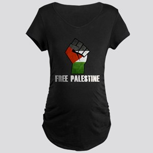 Free Palestine White Maternity Dark T-Shirt
