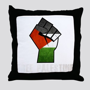 Free Palestine White Throw Pillow