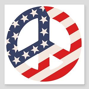 "Peace Flag -Diag Square Car Magnet 3"" x 3"""