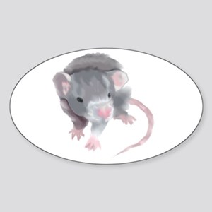 Gray Rat Oval Sticker