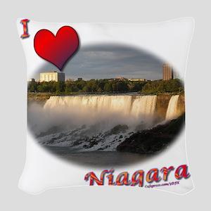 I Love Niagara Woven Throw Pillow