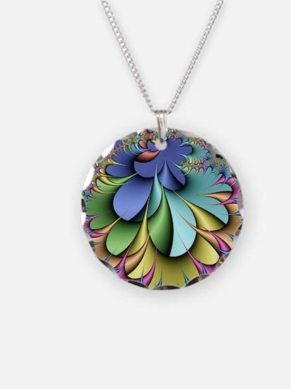 Julia fractal Necklace Circle Charm