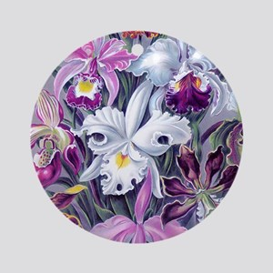 19th C Vintage Orchid Painting Round Ornament