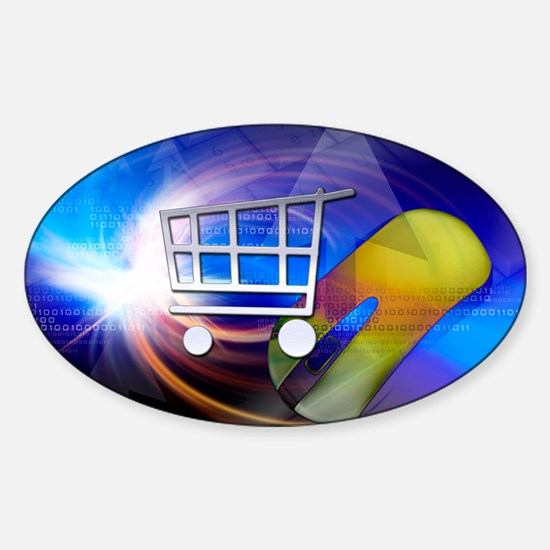 Internet shopping, conceptual artwo Sticker (Oval)